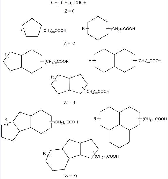 图1环烷酸类物质分子结构示意图